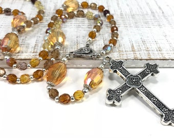 Orange Crystal Rosary 5 Decade Rosary Beads Traditional Catholic Rosary Orange Rosary Large Cross Rosary Orange Prayer Beads Religious GIft