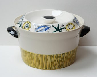 Vintage Norwegian Stavangerflint 'Bambus' Flamingo lidded handled casserole pot/dish - Inger Waage.