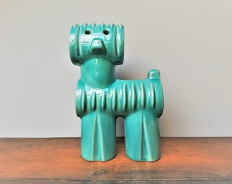 Modernist Hungarian Zsolnay Pecs - Judit Nador - 'Robotic' - cubist porcelain dog