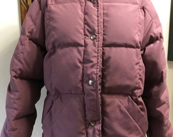 1f0e474572cef Vintage Eddie Bauer Down Puffer Jacket - Purple Puffer Coat - Snap Front Puffer  Jacket