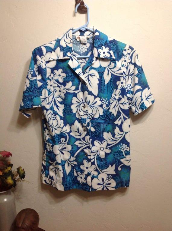 Vintage Royal Hawaiian 60's Barkcloth Button Up G.