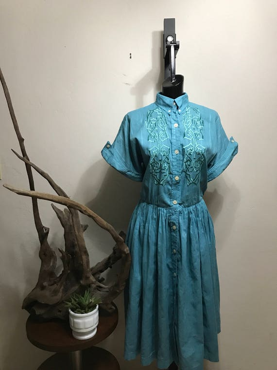 Vintage Turquoise Christian of Manila Embroidered