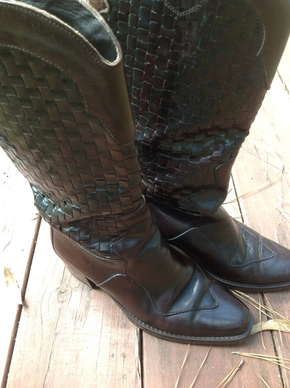 vintage joan and david woven cowboy boots 6 wester