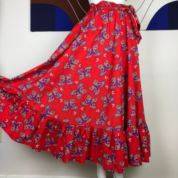 Vintage 70's Handmade OOAK Butterfly Skirt- Butter