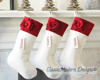 b347f4342 WOOL CHRISTMAS STOCKING Personalized Felt Stockings - Set of 3 -Wool Felt  Christmas Stockings - Family Stockings - White Fur Wool Stocking