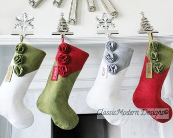 set of 5 personalized christmas stockings unique christmas gifts family stockings gifts for her elegant handmade classic beautiful - Unique Christmas Stockings