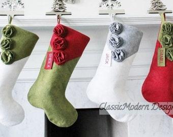 Christmas Stocking Personalized, Felt Stockings, Wool Stockings, Family Stockings, Embroidered Felted Stockings,  Handmade with Love!