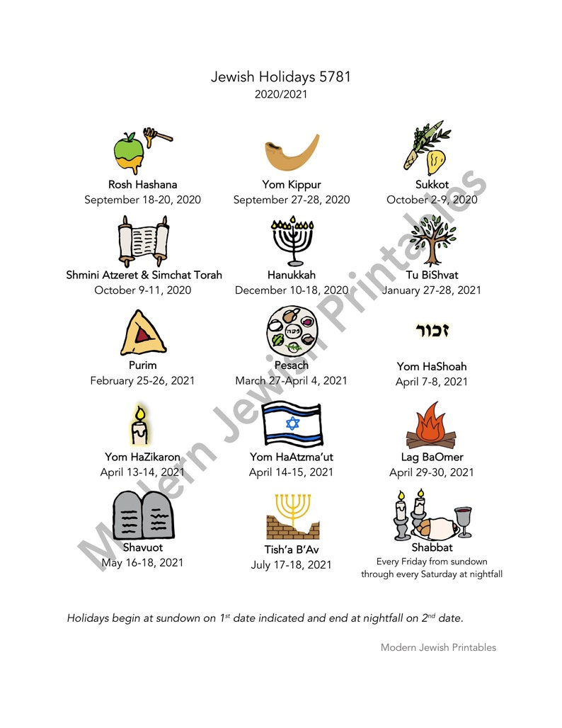 Jewish holiday calendar printable for 5781 2020/2021   Etsy