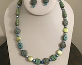 Beautiful and Feminine Necklace and Earring Set in Swarovski Crystal, Lime Green and Light Blue Freshwater Pearls and Unique Pastel Beads