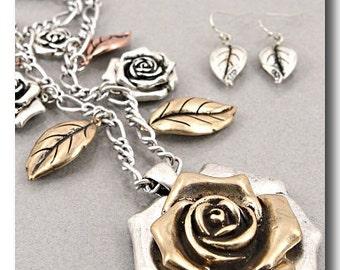 SALE! Designer InspiredRose Pendant Necklace and Earring Set