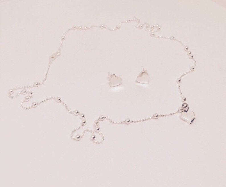Pendant and Chain. Post Earrings Silver Heart Set Sterling Silver 925 Earrings and Necklace set