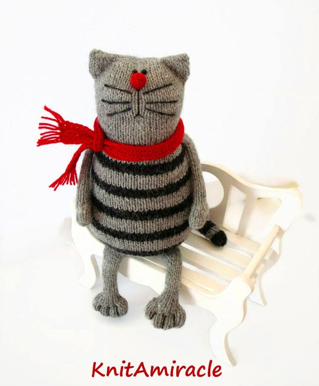 Toy Cat Knitting Pattern Pdf Knitted Animal Pattern Stuffed Etsy