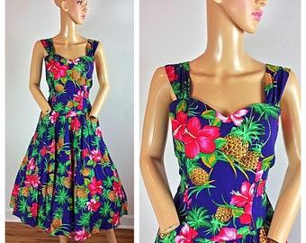 efcfa086886 Vintage 80s does 50s Royal Creations Hawaiian Circle Skirt Pinup Sundress  Dress