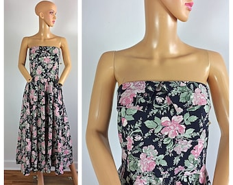 2d2dde6bfbd Vintage 80s does 50s Laura Ashley Strapless Cabbage Rose NWT NOS Party Dress  L
