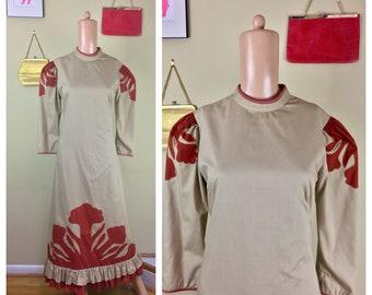 Vintage 60s 70s Caftan Kaftan Mumu Hawaiian Smock Maxi Long Sleeve Dress L