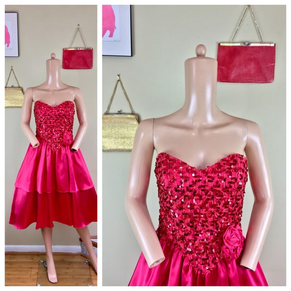 ca9db908b62 Vintage 80s Party Prom RED Satin   Sequin Strapless Wild Child