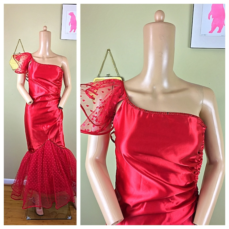638ad60e86455 Vintage 80s Party Prom LA Glo Red Polka Dot Tulle Sequin Satin   Etsy