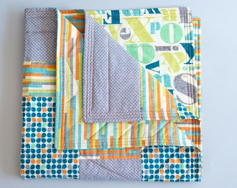 Modern baby quilt, Baby quilt, Handmade quilt, Gender-neutral, Modern fabric, Just My Type, Letterpress, Retro, Multi-color