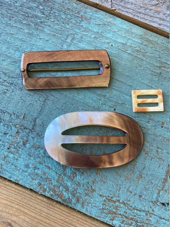 Geometric Brown Metal Silver and Gold Tone Metal Abalone Shell 3 Vintage Belt Buckles MZA of NY Womens Designer Fashion Accessory
