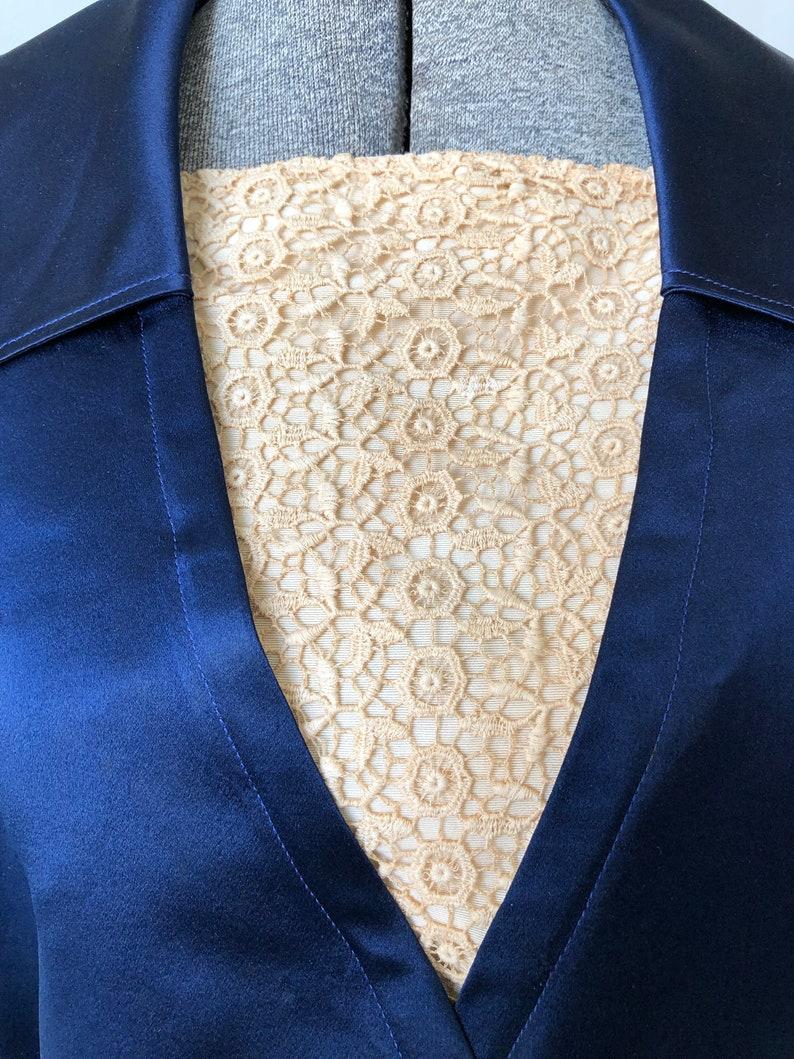 1910s Navy Silk Satin Bodice Blouse Top Lace Insert Titanic Era Medium