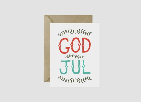 Merry Christmas In Norwegian.God Jul Merry Christmas Norwegian Greeting Card 4 5 X 5 5 A2