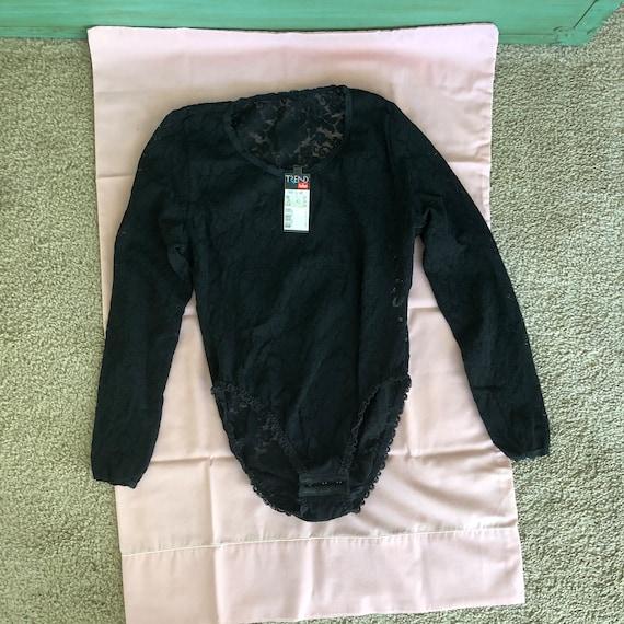 1980s Trend/Triumph brand black lace bodysuit