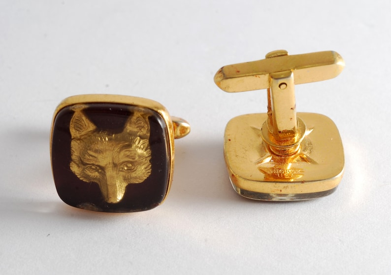 Hickok Vintage COYOTE Cufflinks  Men/'s Cuff Link Pair Men/'s Jewelry Pre-Owned Signed Hickok USA