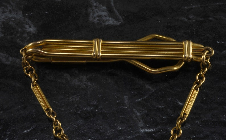 Vintage Gold Plated Brass Letter J  Tie Clip w Chain 1950/'S Nice  Used