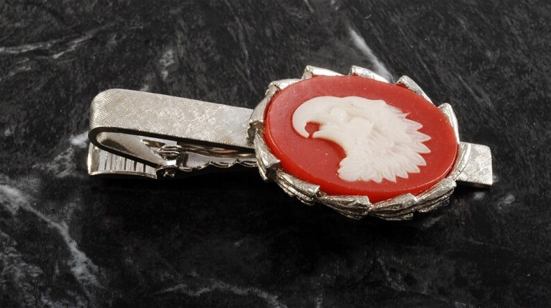 Vintage Eagle Head Plastic Cameo Tie Clip Silver Plated Brass New Old Stock