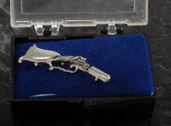Vintage Flintlock Pistol Tie Clip Tieclip Silver Plated Brass In Original Case