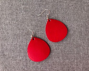 Red small leather teardrop earrings