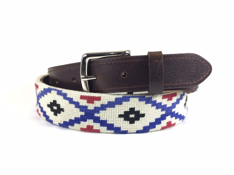 d6e67f46ce734a Aztec Needlepoint Belt   Southwest Needlepoint Belt   Aztec