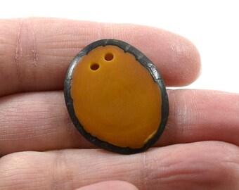 1 Two Hole Tan Tagua Nut Slice Pendant, Tagua Pendant, Oval Pendant, Tan Pendant