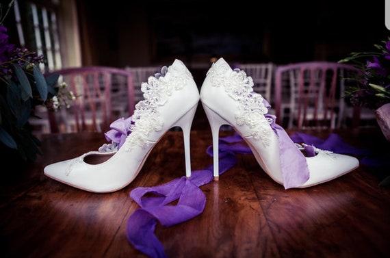 white lace court shoes