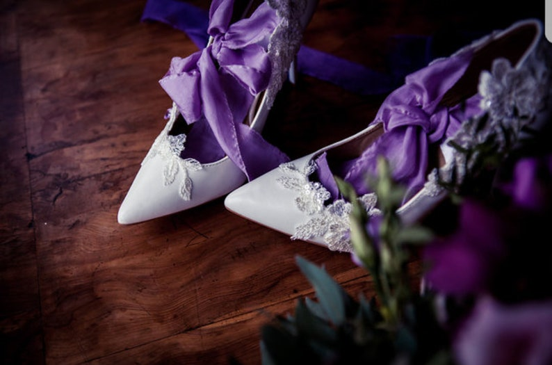 b494c7f9a1e08 Bridal designer white lace court shoes heels with silk ribbon tie featuring  sequin lace and swarovski crystal size 3-8 various colours