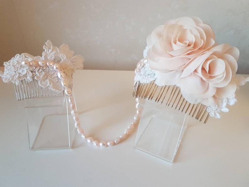 Bespoke handmade double tri haircomb hairpiece hand sewn lace image 0