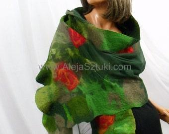 Nuno felted wool scarf silk, merino ,handmade, felted artistic clothing Bolero Wrap Cape Shawl