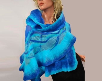 Nuno felted Large Shawl, Turquoise, blue, Hand made felting scarves, scarf, for evening dress, wedding, party.