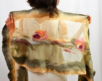 Large silk shawl. Khaki, beige, nuno felted clothes. Unique design for dresses, party, wedding. Natural silk + merino wool from australia