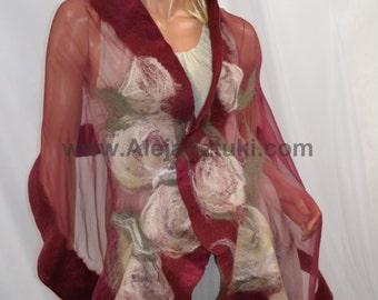 Hand made silk shawl on natural silk. Only unique design, Nuno felting, felted. Felted with Australian merino wool. heather, kaki, beige