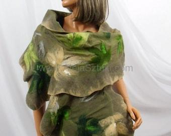 Hand made silk shawl on natural silk, silk scarves, silk scarf, Nuno felting, Nuno felted. Felted with australian merino wool. green khaki