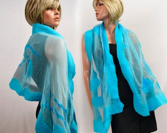 Silk Shawl turquoisefor dresses and blouses