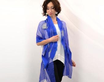 Nuno felted large silk shawl, cornflower with gray, art to wear, handmade, woolen shawl,