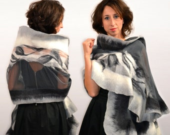 Silk shawl - Graphite, Gray, White, Ecru - Natural silk and Australian merino wool - 100% handmade and unique design