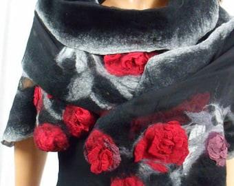 Unique silk roses, Nuno felted silk scarves decorated with Australian Merino wool. Hand Made , Unique Design, Felt Shawl