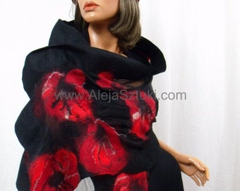 Hand made silk shawl on natural silk. Only unique design, Nuno felting, Nuno felted. Felted with australian merino wool. Red poppies