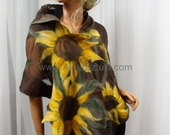 Nuno felted merino wool big shawl cape bolero Artistic clothing  Sunflowers Gorgeous shawl addition to dresses to party to dance the evening