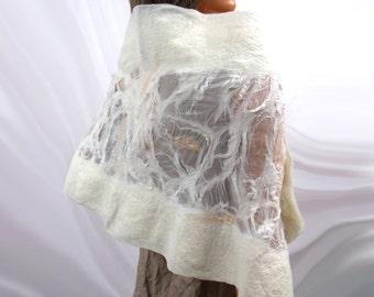 Wedding silk shalw with Australian merino wool. Handmade wedding collection
