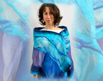 Silk shawl hand maded. Large silk scarf with your favorite flowers. 100 % silk, and merino wool. 180x45cm Nuno felted