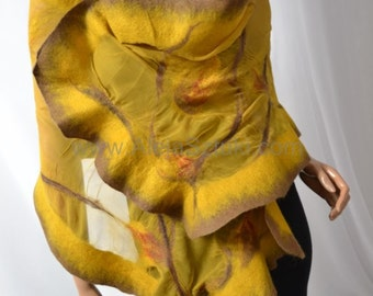 Hand made silk shawl on natural silk. Only unique design, Nuno felting, felted. Felted with Australian merino wool. Honey, yellow
